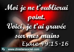 Gravé pour toujours sur les mains de Dieu