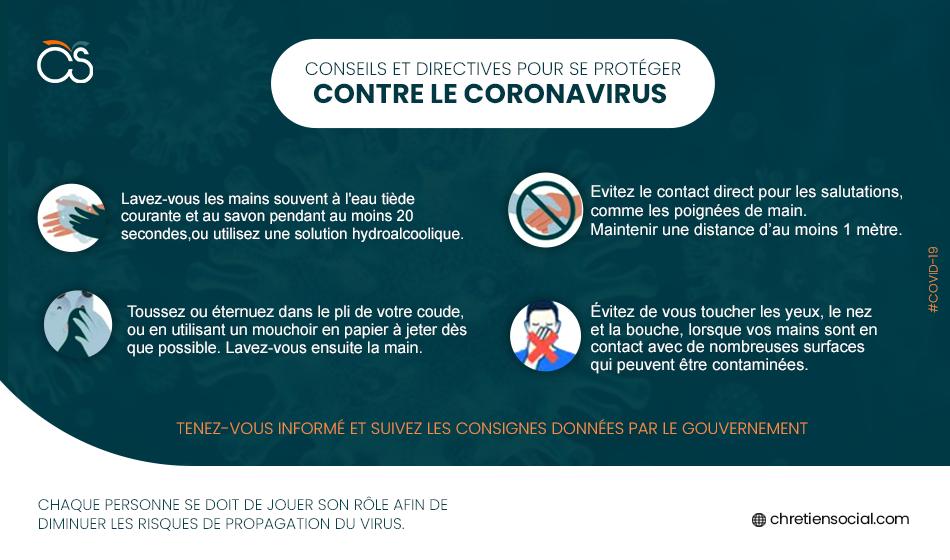 Conseils pour endiguer la propagation le coronavirus